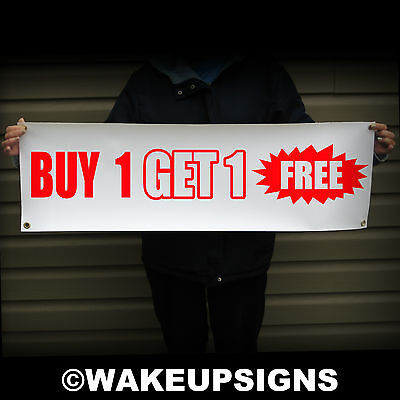 """Buy One Get One Free 38"""" By 12"""" Outdoor Vinyl Scrim Sign Retail Store Discount"""
