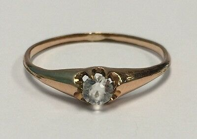 Victorian Gold Filled Clear Paste Belcher Mounted Engagement Ring