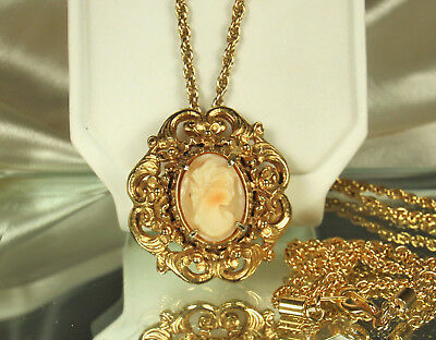 1950s GOLD Plated FLORENZA SHELL CAMEO Pin/Pendant NECKLACE~VICTORIAN Revival~EX