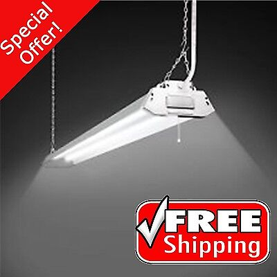 2-Light White Fluorescent Cold Weather Shop Lights Steel Construction Technology