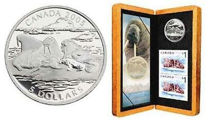 2005 Atlantic Walrus Proof $5 Pure Silver Coin & Stamp Set - Sale