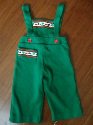 Vintage Green Train Overalls/Romper Size 2