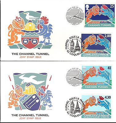 Great Britain / France Dual First Day Cover 1994 The Channel Tunnel - 4 Covers