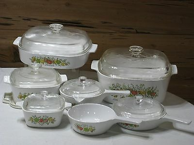 """Vintage 1970's Corning Ware """"Spice of Life"""" 14 Pc. Set"""
