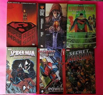 Listing of 6 TPB of Marvel and DC