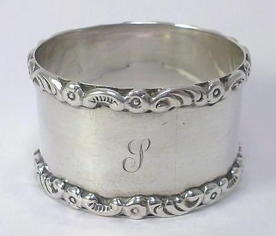 Antique hallmarked Silver Napkin Ring – 1914 by Mappin & Webb (engraved 'S') - 1