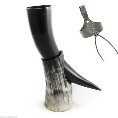 OX ceremonial Viking drinking horn with Horn stand beer wine mead