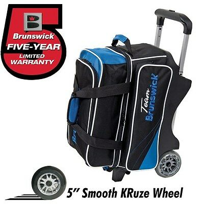 Brunswick Team Brunswick BLACK/COBALT BLUE 2 Ball Roller Bowling Bag