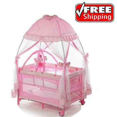 Pack And Play Baby Girls Playpen Playard Travel With Infant Bassinet Napper Yard