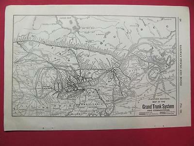 1920 Grand Trunk Railway System Map (Eastern Section) Depot Location 97 Year Old