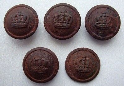 Lot of 5 WW1 German Army Uniform Buttons with Crown S12