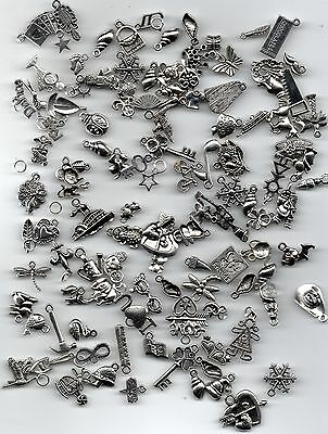 50 Mixed Tibetan Silver Pendant Charms For Jewellery Making And Crafts
