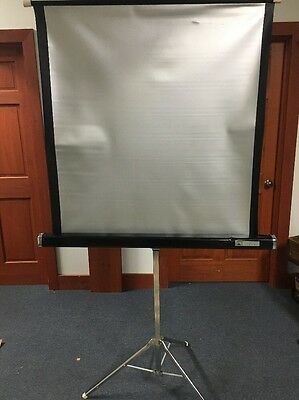 Tower 40 X 40 Vintage Projector Screen With Stand Metal Silver Screen Tripod