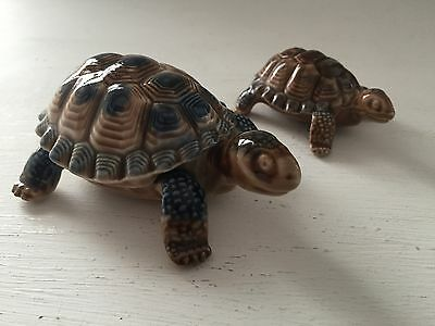 Two Vintage Wade Pottery Collectable Poreceline Tortoise Figures