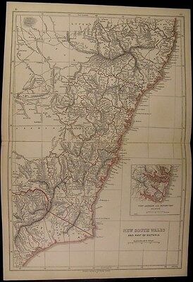 New South Wales & Victoria Australia 1852 Lowry Chapman Hall antique folio map