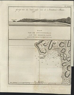 Adventure Bay Van Diemens Tasmania 1801 Cook rare antique Dutch map coast chart