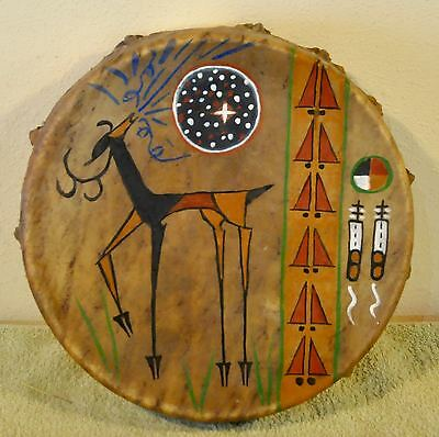 Elk Song /Native American Drum Painted by Lakota Artist Sonja Holy Eagle