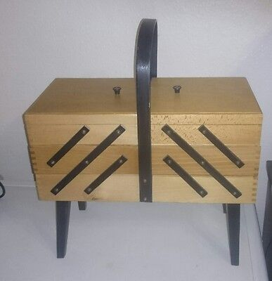 Vintage 1960's Wooden & Black Cantilever Fold Out Sewing Box Retro