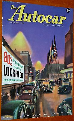 1952 British Autocar Cover With Beautiful Lockheed Ad + Jack Olding Rolls-Royce