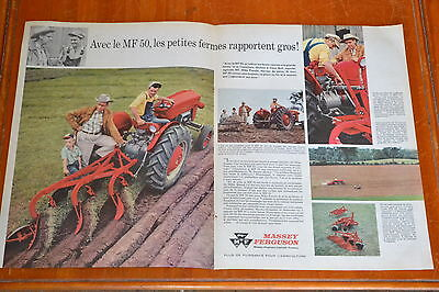 French 1960 Massey Ferguson Mf 50 & 35 Diesel Tractor Large Canadian Ad