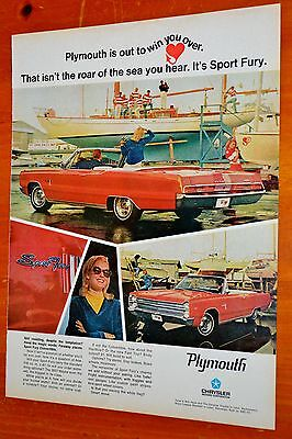 Cool Red 1967 Plymouth Sport Fury Convertible Ad - Vintage American 60S Mopar