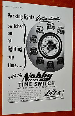 British 1952 Nobby Automatic Time Switch For Parking Lights Ad - Vintage 50S
