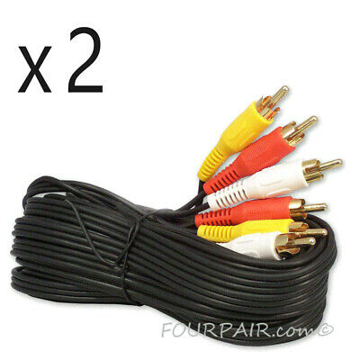 2 Pack Lot - 25FT Triple 3 RCA Red White Yellow Composite Audio Video Cable Gold