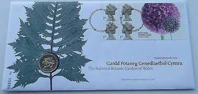 2000 National Botanic Gardens of Wales PNC 4 Stamps and £1 Coin