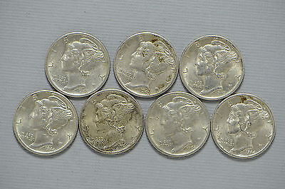1943-S, 1944-S (4 pc), 1945-S Mercury Silver Dime 6 Piece Coin Lot (bb666)