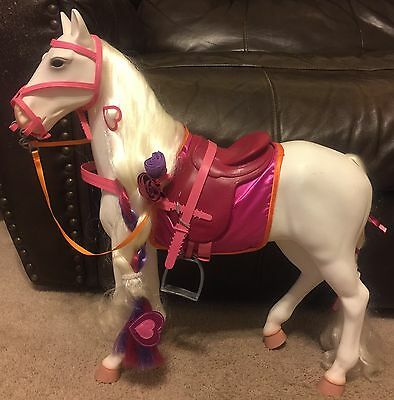 """Our Generation White Horse  Battat 20"""" Fits American Girl"""
