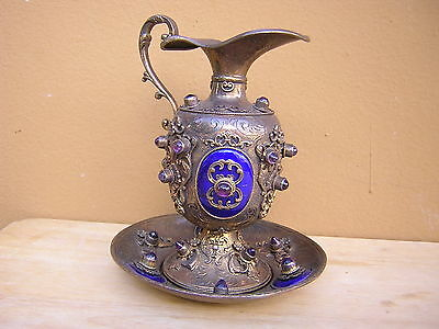Rare Antique Jeweled Enameled Gold Sterling Silver Austro Hungarian Pitcher Set