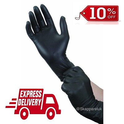 Black Nitrile Gloves Latex Puderfrei Tatooist Mechaniker 100 200 500 1000