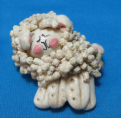 Vintage Lamb Sheep Salt Dough Art Pink Painted Face Artist Signed Pin Brooch