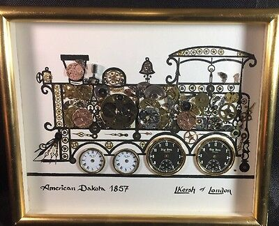 L Kersh Of London Train watch Parts Shadow box Collage Art Steampunk Gift