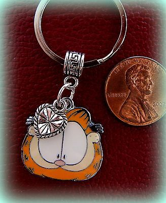 GARFIELD the Cat Keychain Jewelry - enamel Garfield with Heart