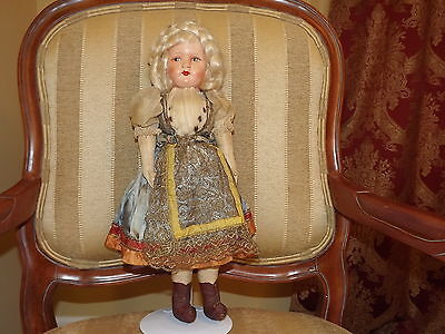 Vintage Hard Plastic Mask Type Face All Cloth Doll 18 in.