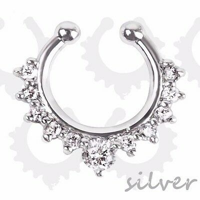 Silver Crystal Fake Faux Septum Non piercing Nose Ring Body Jewelry