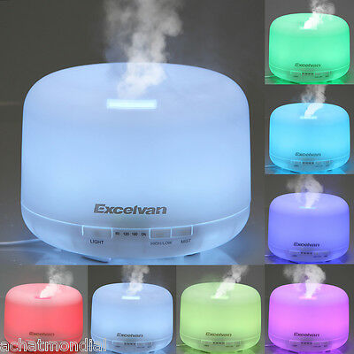500ml Aroma Diffuseur Humidificateur à Ultrasons Loniseur 7 Couleur LED Lampe FR