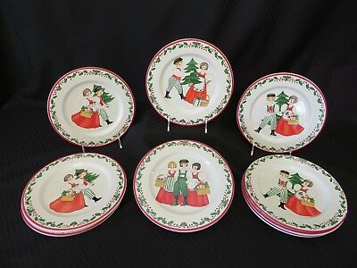 "Set of 11 Block Bernarda FOLK CHRISTMAS 8.25"" Boy & Girl Salad Plates, Portugal"