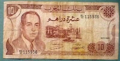 MOROCCO 10 DIRHAMS NOTE , P 57 a,  ISSUED 1970,