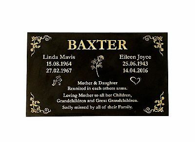 Grave Memorial Marker custom laser engraved black granite  600x300mm