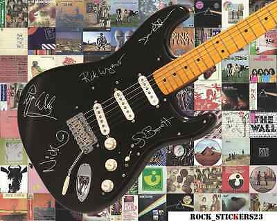 Pink Floyd stickers Signature autographs Gilmour, Waters, Barrett, Wright, Mason