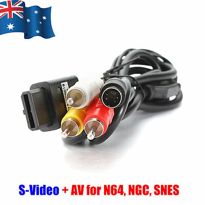 1.8M AV S-Video Composite Cable Cord for Super Nintendo SNES GameCube NGC N64