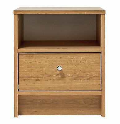 HOME New Malibu 1 Drawer Small Bedside Chest of Drawers - Oak Effect - V001459