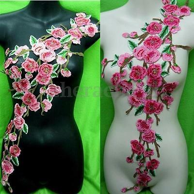 AU Rose Flower Motif Embroidered Collar Sew on Patch Applique Badge Bust Dress
