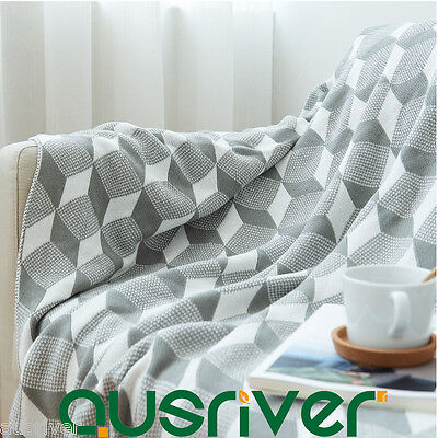 Cotton Knitted Cube Pattern Throw Rug Couch Lounge Sofa Blanket Bed Runner Nap