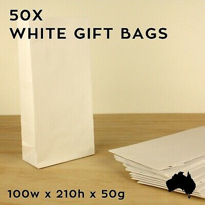 50 X WHITE Paper LOLLY LOOT BAGS Small Craft Flat Party Wedding GIFT BAG FAVOR