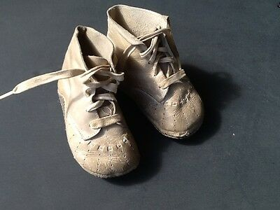 Antique Leather Baby Infant Shoes Could Be Used For Doll Shoes