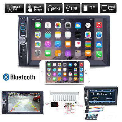 """7"""" Double 2DIN Car Stereo MP5 Player Bluetooth Touch Audio FM Radio USB AUX GPS"""
