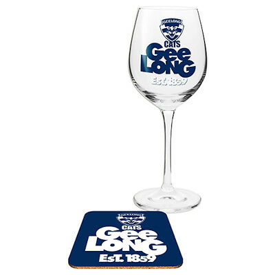 Geelong Cats AFL Wine Glass And Coaster Set